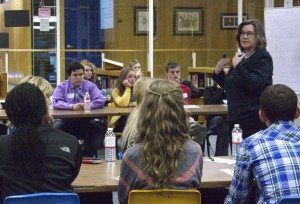 UNK professor Dr. Diane Duffin discusses how to speak to elected officials and advocate for issues with youth at the 2013 Nebraska Youth Academy for Democracy.