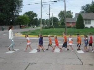Safe Routes to School Coordinator Kate Hannon teaches a crosswalk safety class.