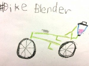 A doodle of the bike blender that went out during Give Where You Live.