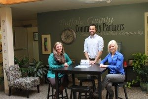 Sarah McCaslin, America's Best Intern, Nate Abegglen, Youth Intern, and Michelle Toukan, Marketing Director join Community Partners staff.