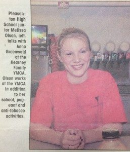 Newspaper clipping from the Kearney Hub, October 16, 2003. The article described how Farris was a role model for other teens.